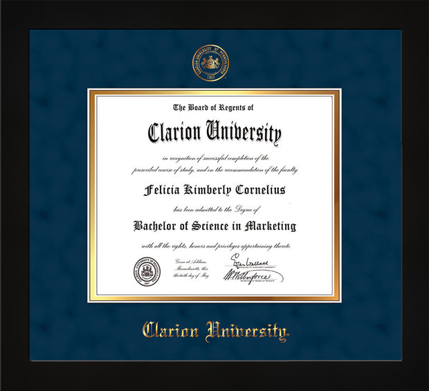 Image of Clarion University of Pennsylvania Diploma Frame - Flat Matte Black - w/Embossed Seal & Name - Navy Suede on Gold mat