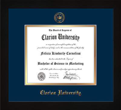 Image of Clarion University of Pennsylvania Diploma Frame - Flat Matte Black - w/Embossed Seal & Name - Navy on Gold mat