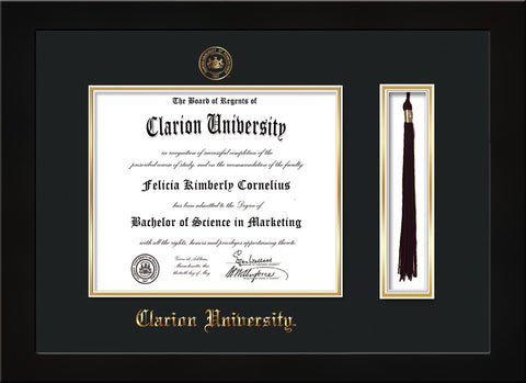 Image of Clarion University of Pennsylvania Diploma Frame - Flat Matte Black - w/Embossed Seal & Name - Tassel Holder - Black on Gold mat