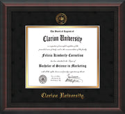 Image of Clarion University of Pennsylvania Diploma Frame - Mahogany Braid - w/Embossed Seal & Name - Black Suede on Gold mat