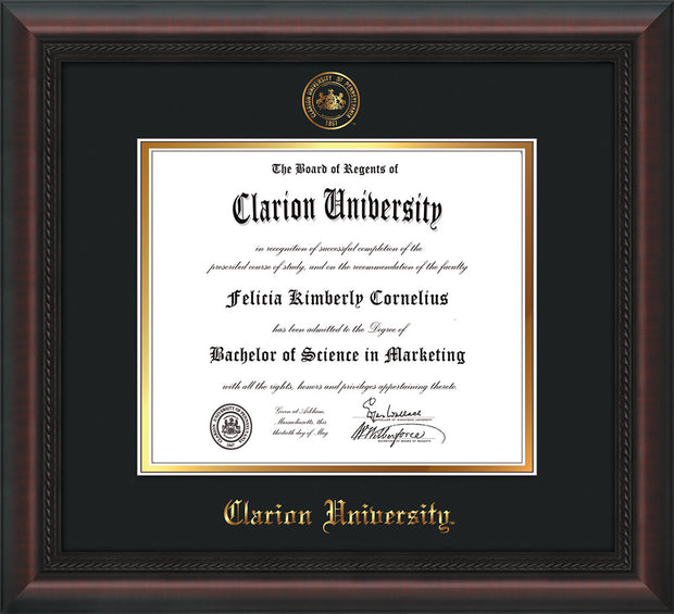 Image of Clarion University of Pennsylvania Diploma Frame - Mahogany Braid - w/Embossed Seal & Name - Black on Gold mat