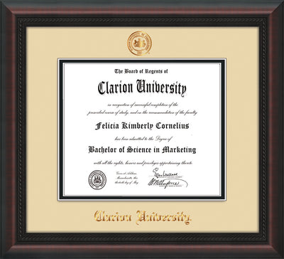 Image of Clarion University of Pennsylvania Diploma Frame - Mahogany Braid - w/Embossed Seal & Name - Cream on Black mat