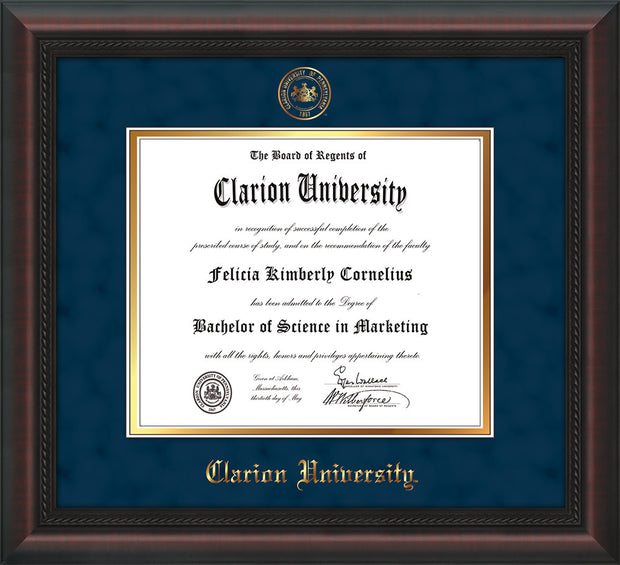 Image of Clarion University of Pennsylvania Diploma Frame - Mahogany Braid - w/Embossed Seal & Name - Navy Suede on Gold mat