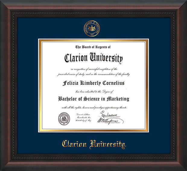 Image of Clarion University of Pennsylvania Diploma Frame - Mahogany Braid - w/Embossed Seal & Name - Navy on Gold mat