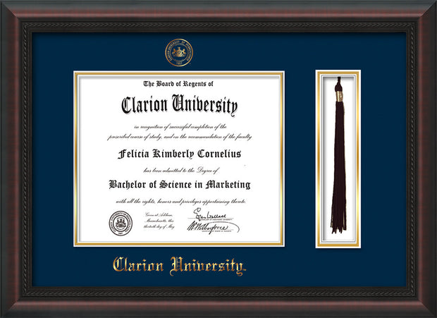 Image of Clarion University of Pennsylvania Diploma Frame - Mahogany Braid - w/Embossed Seal & Name - Tassel Holder - Navy on Gold mat