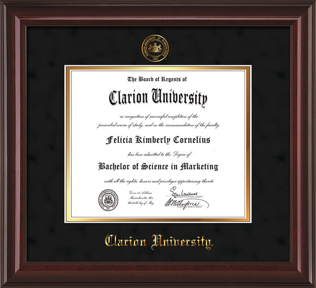 Image of Clarion University of Pennsylvania Diploma Frame - Mahogany Lacquer - w/Embossed Seal & Name - Black Suede on Gold mat