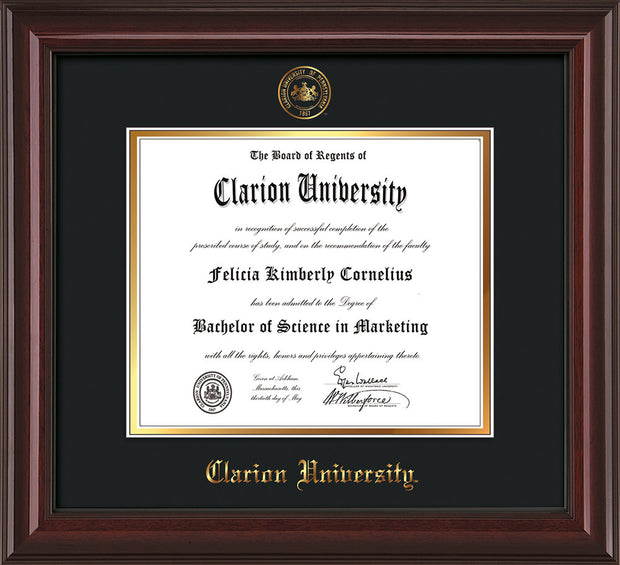 Image of Clarion University of Pennsylvania Diploma Frame - Mahogany Lacquer - w/Embossed Seal & Name - Black on Gold mat