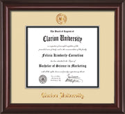 Image of Clarion University of Pennsylvania Diploma Frame - Mahogany Lacquer - w/Embossed Seal & Name - Cream on Black mat