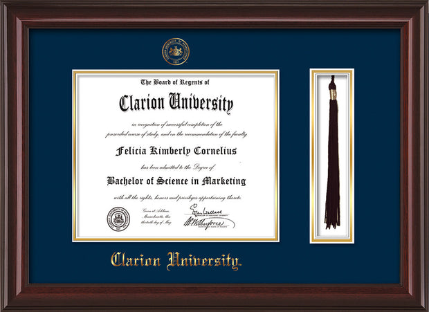Image of Clarion University of Pennsylvania Diploma Frame - Mahogany Lacquer - w/Embossed Seal & Name - Tassel Holder - Navy on Gold mat