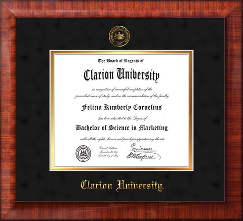 Image of Clarion University of Pennsylvania Diploma Frame - Mezzo Gloss - w/Embossed Seal & Name - Black Suede on Gold mat