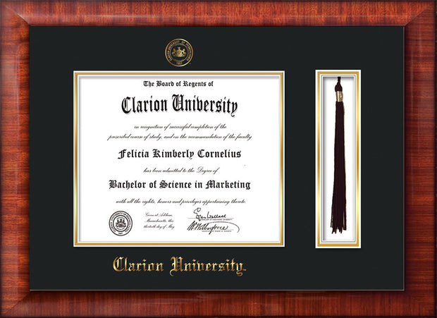 Image of Clarion University of Pennsylvania Diploma Frame - Mezzo Gloss - w/Embossed Seal & Name - Tassel Holder - Black on Gold mat