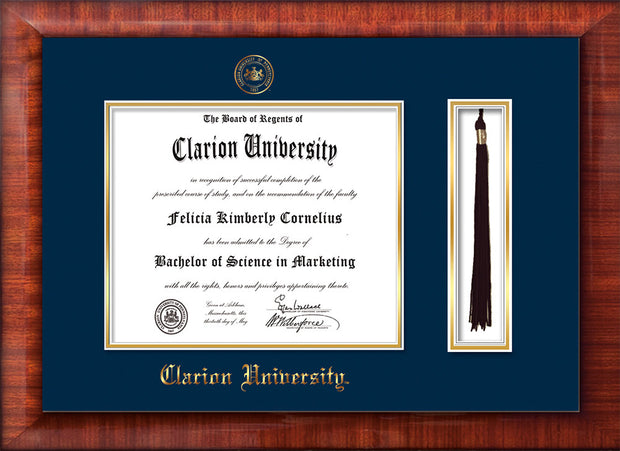 Image of Clarion University of Pennsylvania Diploma Frame - Mezzo Gloss - w/Embossed Seal & Name - Tassel Holder - Navy on Gold mat
