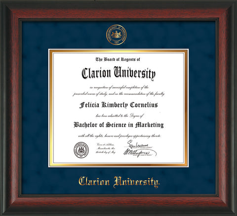 Image of Clarion University of Pennsylvania Diploma Frame - Rosewood - w/Embossed Seal & Name - Navy Suede on Gold mat