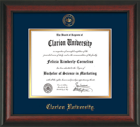 Image of Clarion University of Pennsylvania Diploma Frame - Rosewood - w/Embossed Seal & Name - Navy on Gold mat