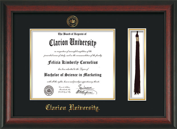 Image of Clarion University of Pennsylvania Diploma Frame - Rosewood - w/Embossed Seal & Name - Tassel Holder - Black on Gold mat