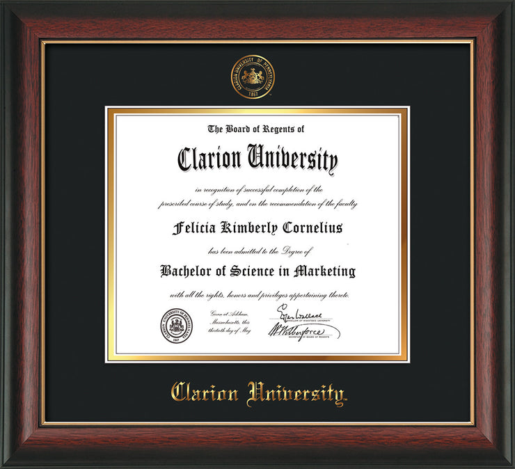 Image of Clarion University of Pennsylvania Diploma Frame - Rosewood w/Gold Lip - w/Embossed Seal & Name - Black on Gold mat
