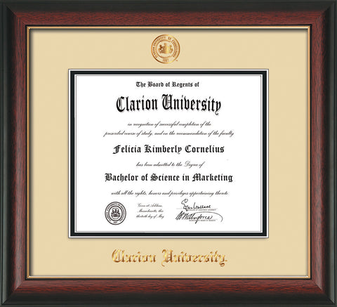 Image of Clarion University of Pennsylvania Diploma Frame - Rosewood w/Gold Lip - w/Embossed Seal & Name - Cream on Black mat