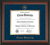 Image of Clarion University of Pennsylvania Diploma Frame - Rosewood w/Gold Lip - w/Embossed Seal & Name - Navy Suede on Gold mat