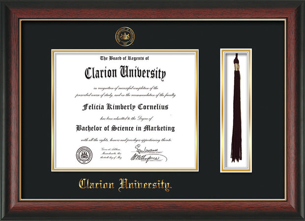 Image of Clarion University of Pennsylvania Diploma Frame - Rosewood w/Gold Lip - w/Embossed Seal & Name - Tassel Holder - Black on Gold mat