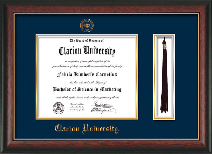 Image of Clarion University of Pennsylvania Diploma Frame - Rosewood w/Gold Lip - w/Embossed Seal & Name - Tassel Holder - Navy on Gold mat