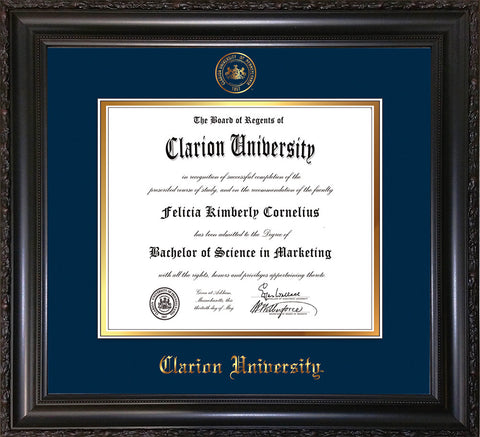 Image of Clarion University of Pennsylvania Diploma Frame - Vintage Black Scoop - w/Embossed Seal & Name - Navy on Gold mat
