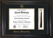 Image of Clarion University of Pennsylvania Diploma Frame - Vintage Black Scoop - w/Embossed Seal & Name - Tassel Holder - Black on Gold mat
