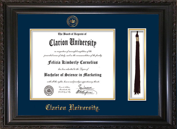 Image of Clarion University of Pennsylvania Diploma Frame - Vintage Black Scoop - w/Embossed Seal & Name - Tassel Holder - Navy on Gold mat