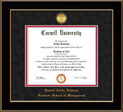 Image of Cornell University Diploma Frame - Black Lacquer - w/24k Gold Plated Medallion - School of Management Embossing - Black Suede on Red Mat