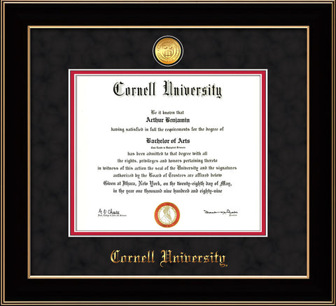 Image of Cornell University Diploma Frame - Black Lacquer - w/24k Gold Plated Medallion Cornell Name Embossing - Black Suede on Red Mat