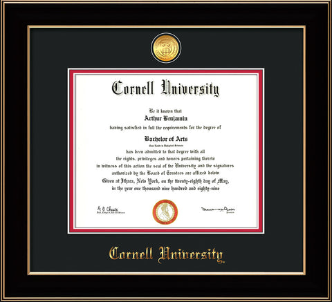 Image of Cornell University Diploma Frame - Black Lacquer - w/24k Gold Plated Medallion Cornell Name Embossing - Black on Red Mat
