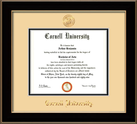Image of Cornell University Diploma Frame - Black Lacquer - w/Cornell Embossed Seal & Name - Cream on Black mat