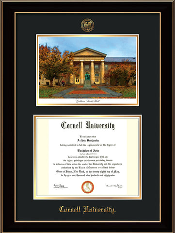 Image of Cornell University Diploma Frame - Black Lacquer - w/Cornell Embossed Seal & Name - Goldwin-Smith Hall Watercolor - Black on Gold mat