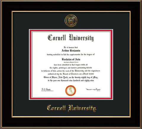 Image of Cornell University Diploma Frame - Black Lacquer - w/Cornell Embossed Seal & Name - Black on Red mat