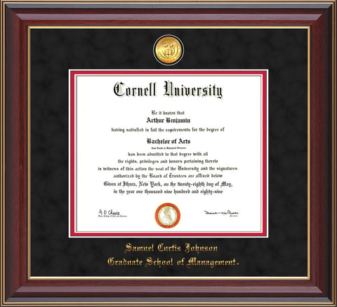 Image of Cornell University Diploma Frame - Cherry Lacquer - w/24k Gold Plated Medallion - School of Management Embossing - Black Suede on Red Mat
