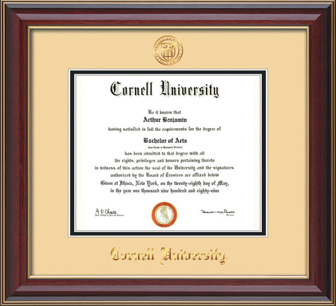 Image of Cornell University Diploma Frame - Cherry Lacquer - w/Cornell Embossed Seal & Name - Cream on Black mat