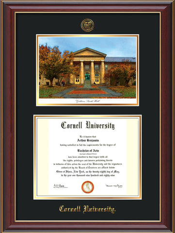 Image of Cornell University Diploma Frame - Cherry Lacquer - w/Cornell Embossed Seal & Name - Goldwin-Smith Hall Watercolor - Black on Gold mat