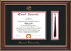Image of Cornell University Diploma Frame - Cherry Lacquer - w/Cornell Embossed Seal & Name - Tassel Holder - Black on Red mat