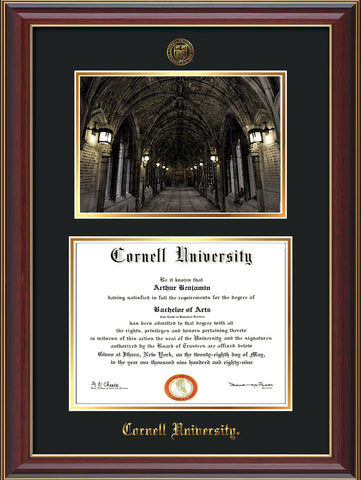 Image of Cornell University Diploma Frame - Cherry Lacquer - w/Cornell Embossed Seal & Name - War Memorial Watercolor - Black on Gold mat