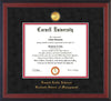 Image of Cornell University Diploma Frame - Cherry Reverse - w/24k Gold Plated Medallion - School of Management Embossing - Black Suede on Red Mat