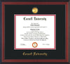 Image of Cornell University Diploma Frame - Cherry Reverse - w/24k Gold Plated Medallion Cornell Name Embossing - Black on Red Mat