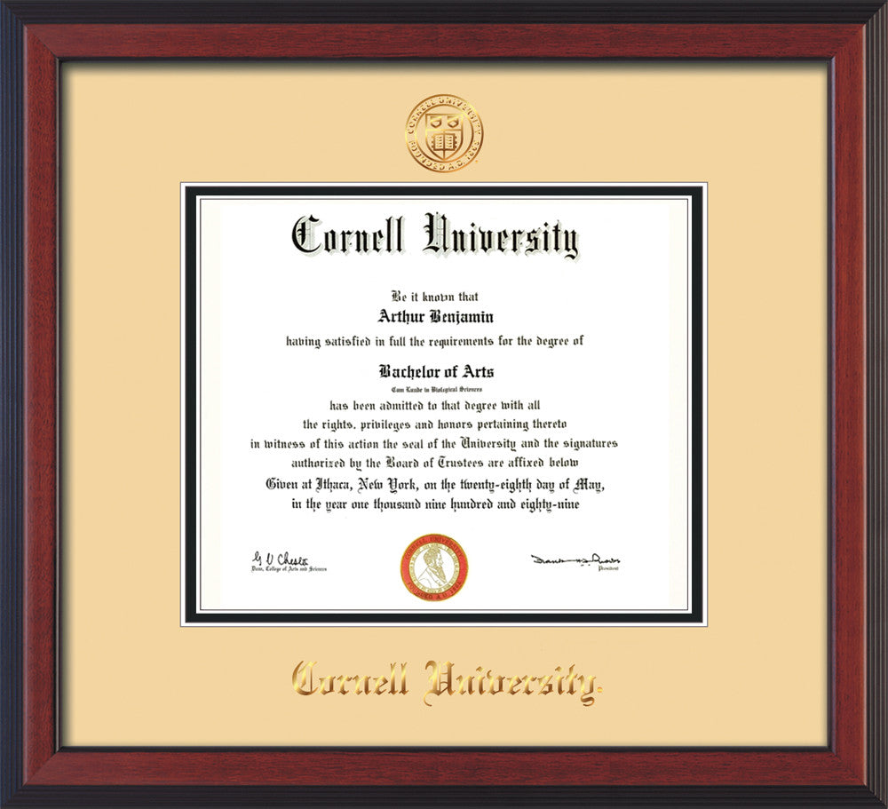 image of cornell university diploma frame cherry reverse wcornell embossed seal