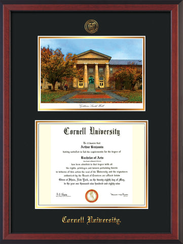 Image of Cornell University Diploma Frame - Cherry Reverse - w/Cornell Embossed Seal & Name - Goldwin-Smith Hall Watercolor - Black on Gold mat
