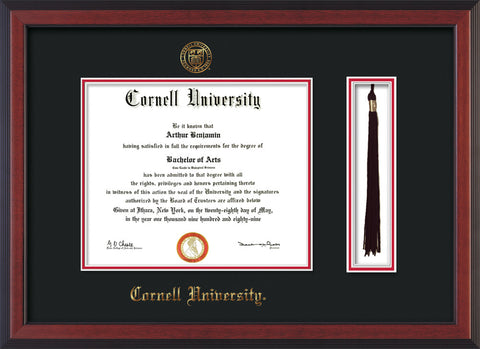 Image of Cornell University Diploma Frame - Cherry Reverse - w/Cornell Embossed Seal & Name - Tassel Holder - Black on Red mat