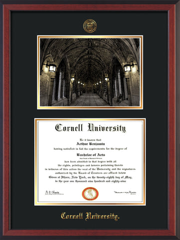 Image of Cornell University Diploma Frame - Cherry Reverse - w/Cornell Embossed Seal & Name - War Memorial Watercolor - Black on Gold mat