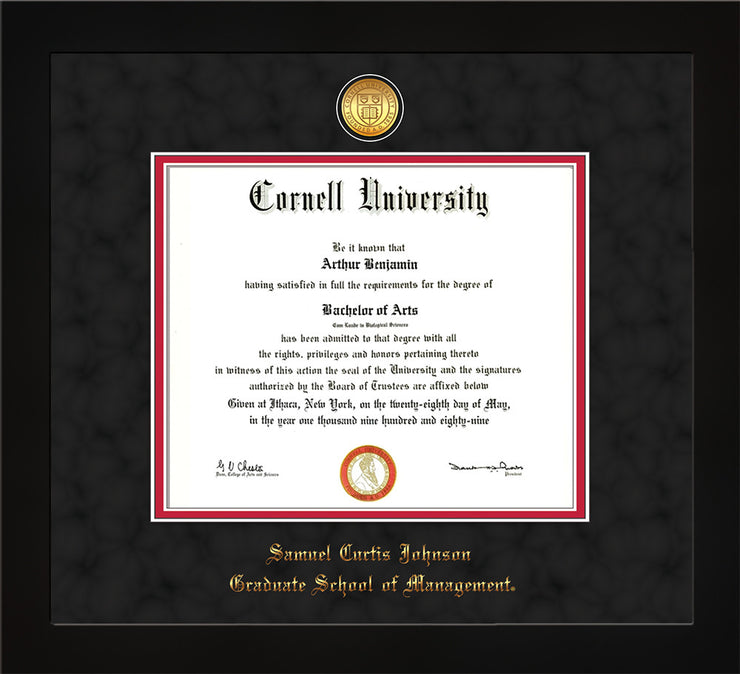 Image of Cornell University Diploma Frame - Flat Matte Black - w/24k Gold Plated Medallion - School of Management Embossing - Black Suede on Red Mat