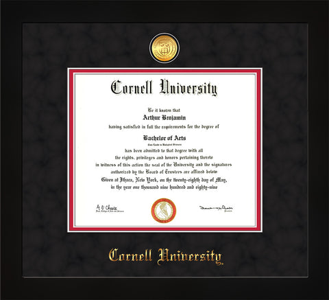 Image of Cornell University Diploma Frame - Flat Matte Black - w/24k Gold Plated Medallion Cornell Name Embossing - Black Suede on Red Mat