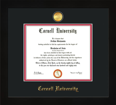 Image of Cornell University Diploma Frame - Flat Matte Black - w/24k Gold Plated Medallion Cornell Name Embossing - Black on Red Mat