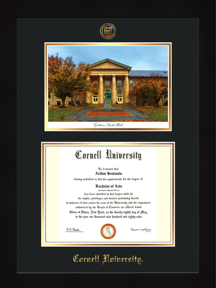 Image of Cornell University Diploma Frame - Flat Matte Black - w/Cornell Embossed Seal & Name - Goldwin-Smith Hall Watercolor - Black on Gold mat