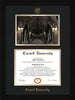 Image of Cornell University Diploma Frame - Flat Matte Black - w/Cornell Embossed Seal & Name - War Memorial Watercolor - Black on Gold mat
