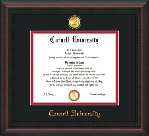 Image of Cornell University Diploma Frame - Mahogany Braid - w/24k Gold Plated Medallion Cornell Name Embossing - Black on Red Mat